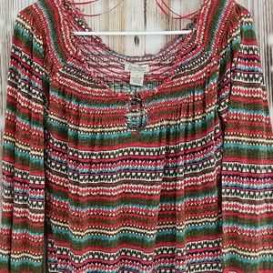 Lucky EUC red green pattern blouse M